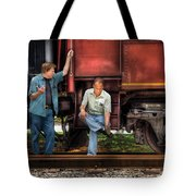 Train - Yard - Shoot'in The Breeze Tote Bag by Mike Savad