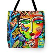 Tree Of Life Paradise Goddess Tote Bag by Sandra Silberzweig