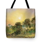 Trees On Hampstead Heath At Sunset Tote Bag by John Constable