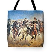 Troopers Moving Tote Bag by Frederic Remington