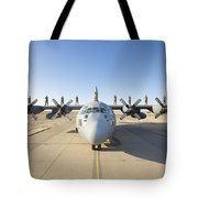 Troops Stand On The Wings Of A C-130 Tote Bag by Terry Moore