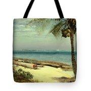 Tropical Coast Tote Bag by Albert Bierstadt