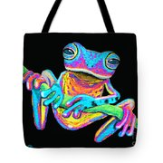Tropical Rainbow Frog On A Vine Tote Bag by Nick Gustafson