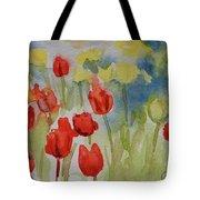 Tulip Field Tote Bag by Gretchen Bjornson