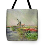 Tulip Field In Holland Tote Bag by Claude Monet