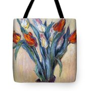 Tulips Tote Bag by Claude Monet