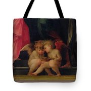 Two Cherubs Reading Detail From Madonna And Child With Saints Tote Bag by Giovanni Battist Rosso Fiorentino