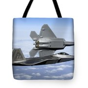Two F-22a Raptors In Flight Tote Bag by Stocktrek Images