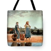 Two Girls On The Beach Tote Bag by Winslow Homer