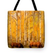 Two Horses in the Autumn Colors Tote Bag by James BO  Insogna