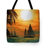 Two Ships Passing In The Night Tote Bag by Bill Cannon
