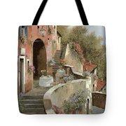 Un Caffe Al Fresco Sulla Salita Tote Bag by Guido Borelli