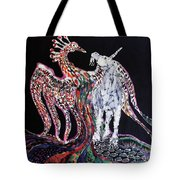 Unicorn And Phoenix Merge Paths Tote Bag by Carol Law Conklin