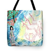 Unicorns Come Home Tote Bag by Sushila Burgess