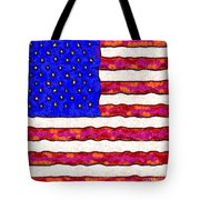 Van Gogh.s Starry American Flag . Square Tote Bag by Wingsdomain Art and Photography