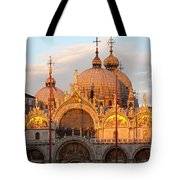 Venice Church of St. Marks at sunset Tote Bag by Heiko Koehrer-Wagner