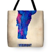 Vermont Watercolor Map Tote Bag by Naxart Studio