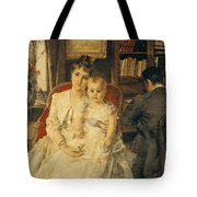 Victorian Family Scene Tote Bag by Alfred Emile Stevens