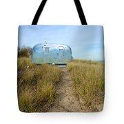 Vintage Camping Trailer Near The Sea Tote Bag by Jill Battaglia