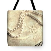 Vintage Lace And Pearls Tote Bag by Barbara Griffin