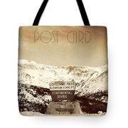 Vintage Style Post Card From Loveland Pass Tote Bag by Juli Scalzi