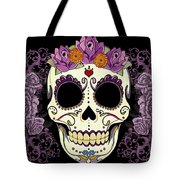 Vintage Sugar Skull And Roses Tote Bag by Tammy Wetzel