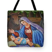 Virgin Mary And Baby Jesus Tote Bag by Gaspar Avila