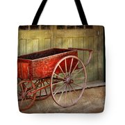 Wagon - That Old Red Wagon  Tote Bag by Mike Savad