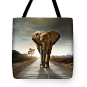 Walking Elephant Tote Bag by Carlos Caetano