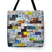 Wall Of American License Plates Tote Bag by Christine Till