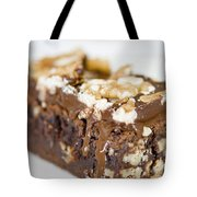 Walnut Brownie On A White Plate Tote Bag by Ulrich Schade