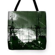 Warships At Twilight Tote Bag by Gaspar Avila