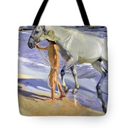 Washing The Horse Tote Bag by Joaquin Sorolla y Bastida