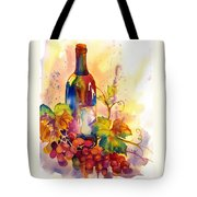 Watercolor Wine Tote Bag by Peggy Wilson