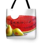 Watermelon And Pears Tote Bag by Carlos Caetano