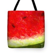 Watermelon With Three Seeds Tote Bag by Wingsdomain Art and Photography