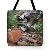West Fork Trail River And Rock Horizontal Tote Bag by Heather Kirk