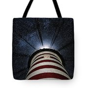 West Quoddy Head Lighthouse Night Light Tote Bag by Marty Saccone