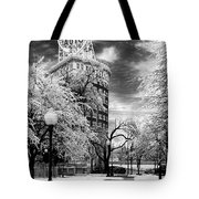 Western Auto In Winter Tote Bag by Steve Karol
