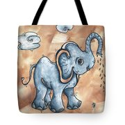 Whimsical Pop Art Childrens Nursery Original Elephant Painting Adorable By Madart Tote Bag by Megan Duncanson