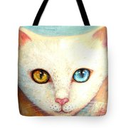 White Cat Tote Bag by Shijun Munns