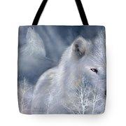 White Wolf Tote Bag by Carol Cavalaris