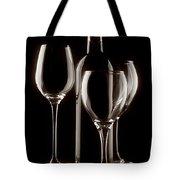 Wine Bottle And Wineglasses Silhouette II Tote Bag by Tom Mc Nemar