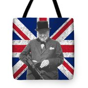 Winston Churchill And His Flag Tote Bag by War Is Hell Store