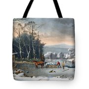 Winter In The Country Tote Bag by Currier and Ives