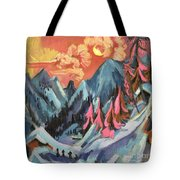 Winter Landscape In Moonlight Tote Bag by Ernst Ludwig Kirchner