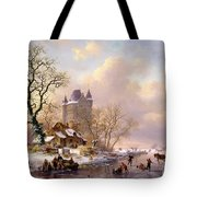 Winter Landscape With Castle Tote Bag by Frederick Marianus Kruseman