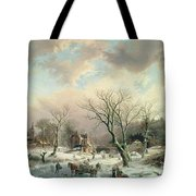 Winter Scene   Tote Bag by Johannes Petrus van Velzen