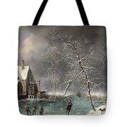 Winter Scene Tote Bag by Louis Claude Mallebranche