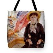 Woman in Boat with Canoeist Tote Bag by Renoir